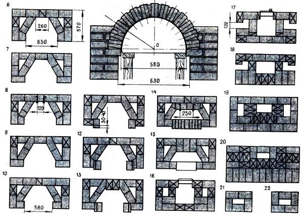 Порядовка камина, пошаговая кладка камина – чертежи и схемы 2