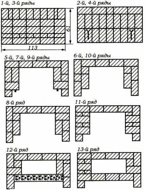 Порядовка камина, пошаговая кладка камина – чертежи и схемы 3