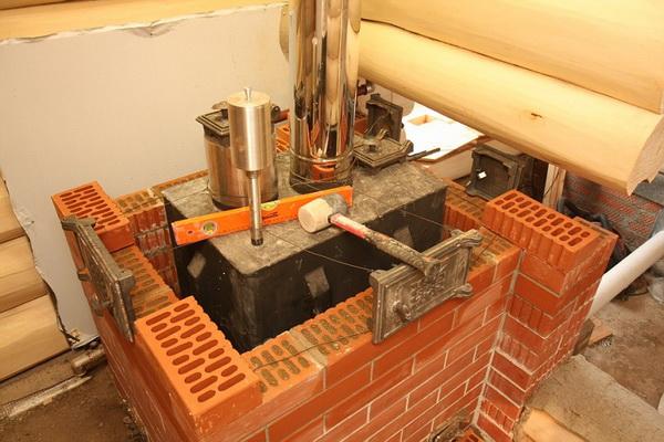 Как правильно обложить металлическую печь кирпичом в бане 4