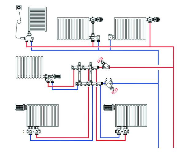 Как работает лучевая схема системы отопления двухэтажного дома 2