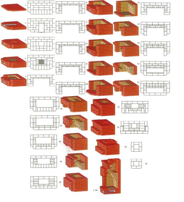 Порядовка камина, пошаговая кладка камина – чертежи и схемы 4