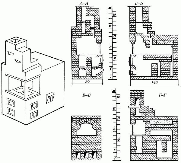 Схема камина с ходами